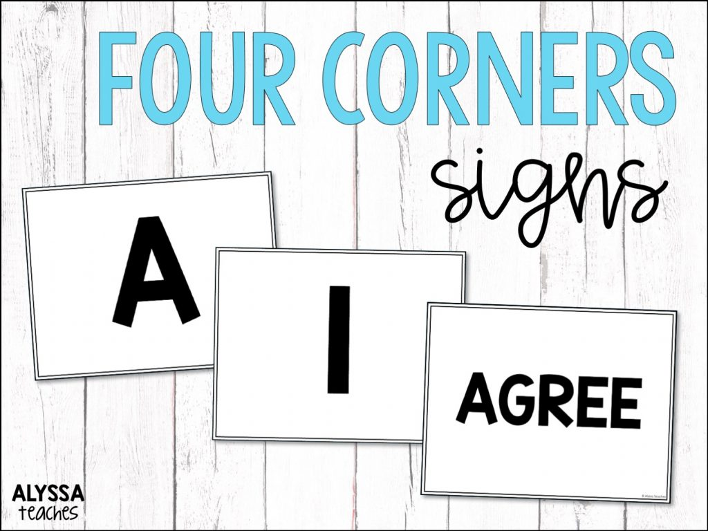 Elementary students love playing the Four Corners game for test prep, icebreaker activities, and more! Click to read about it and grab free Four Corners signs to use in your classroom!