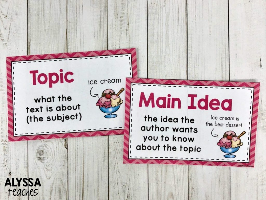 Topic vs main idea anchor charts for your reading focus wall are a great way to support this concept!