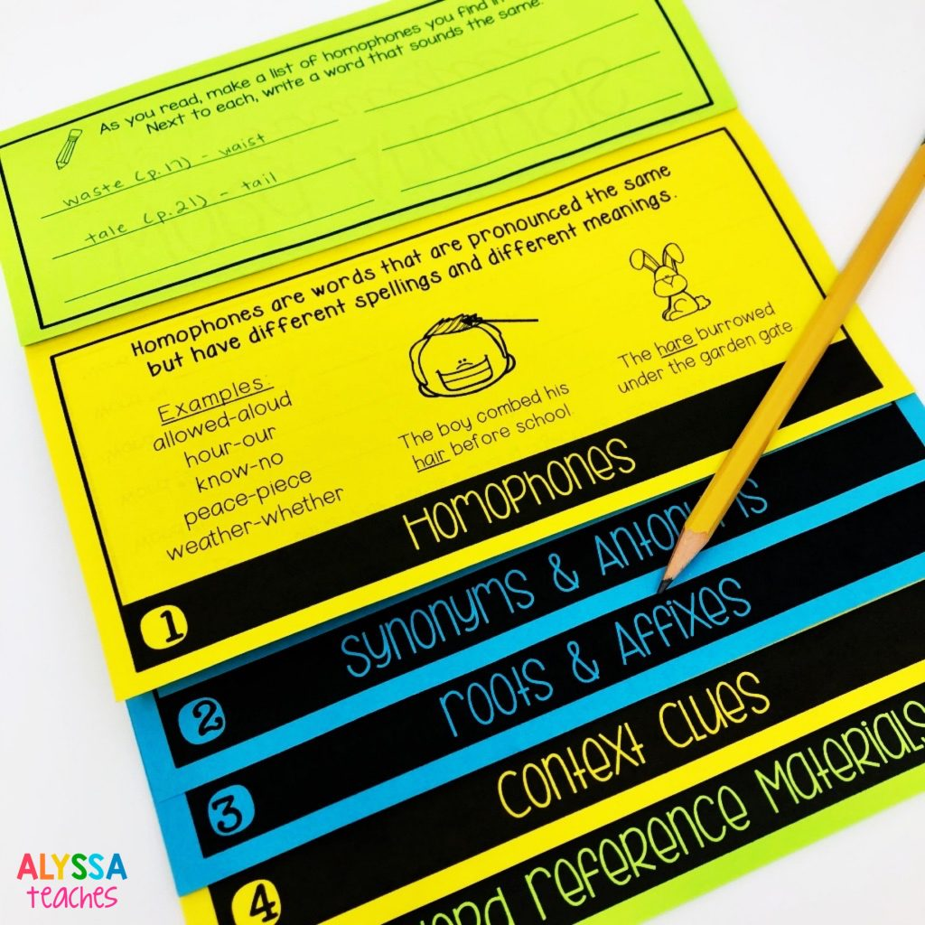 A flip book is a good way for students to take scaffolded notes on different word analysis skills.