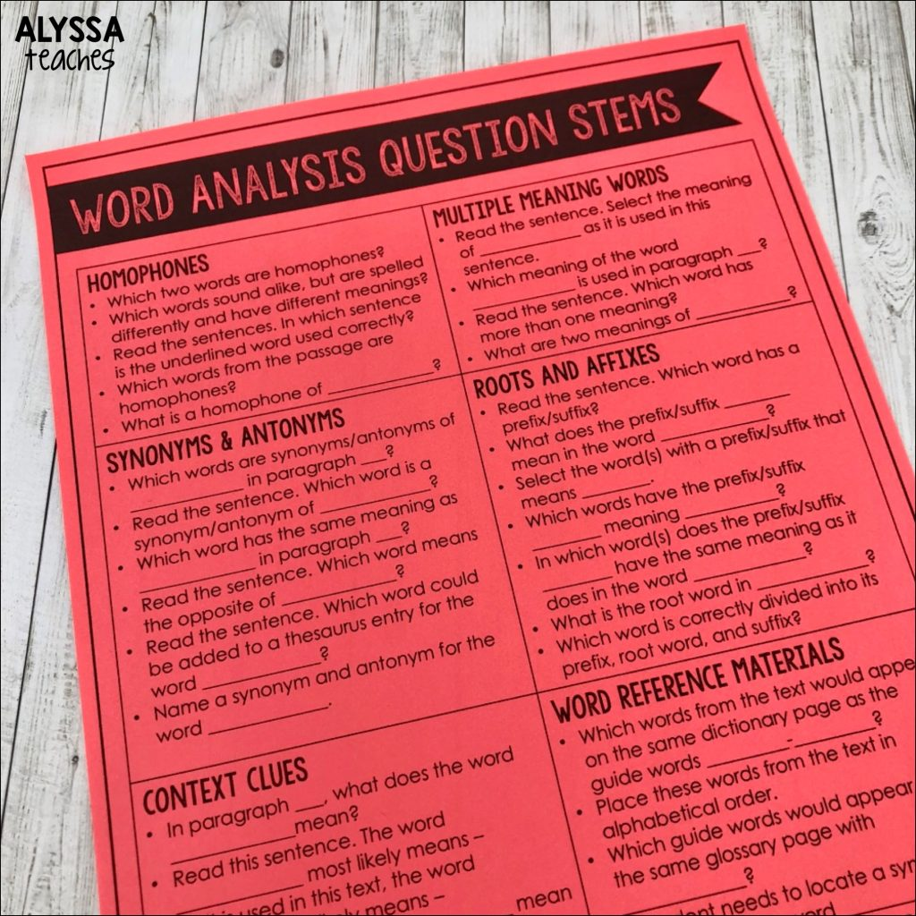 These word analysis strategies question stems are perfect to use for test prep with upper elementary students.
