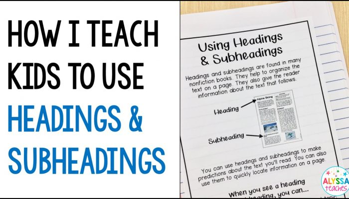 Teaching Headings and Subheadings