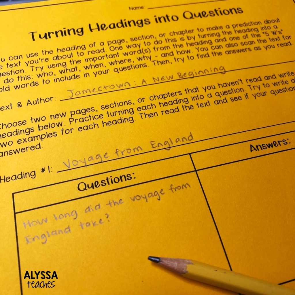 Turning a heading into a question is a great way to activate background knowledge!