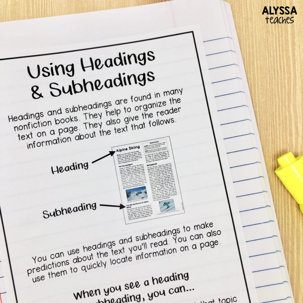 Providing students a headings and subheadings anchor chart for their reading interactive notebook is a helpful way to remind them of the definitions of these nonfiction text features.