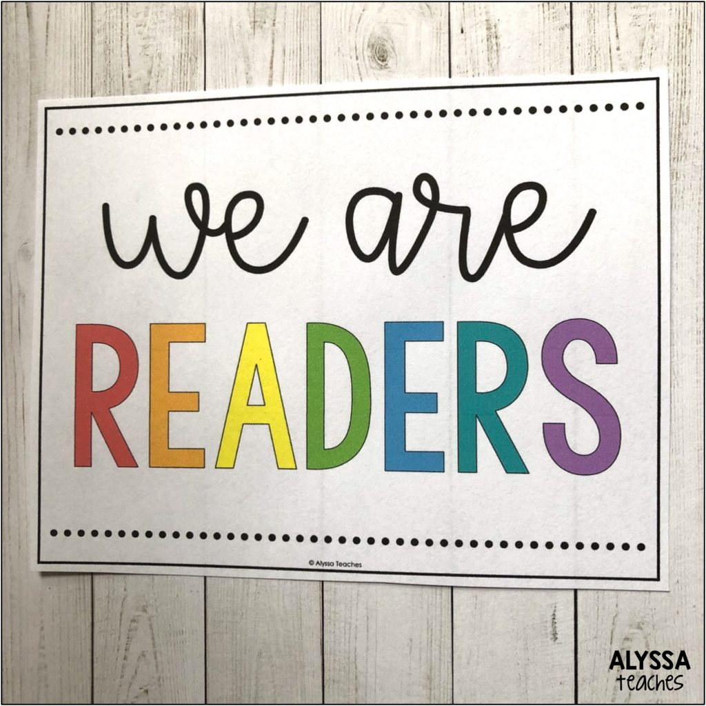 Display signs in your classroom or library that show your students are proud to be readers. | Alyssa Teaches