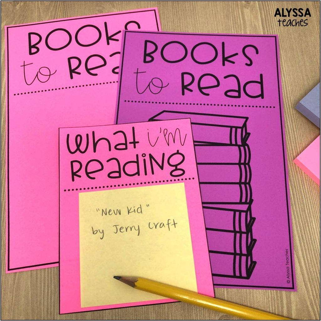 Teachers and school librarians can easily share about your life as a reader by displaying signs to show your TBR list as well as what book you're reading now/