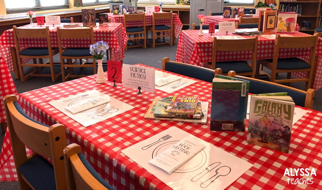 Setting up for the book tasting!