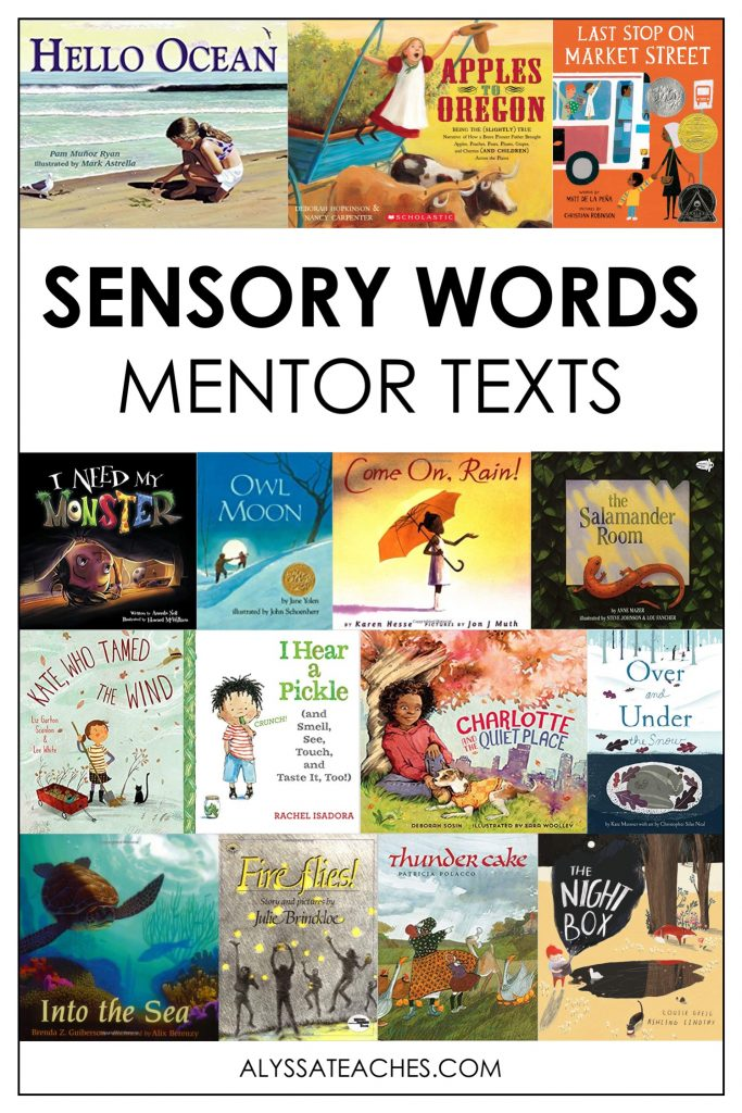 Great ideas for teaching sensory details in your upper elementary reading workshop! Don't forget to check out this list of mentor texts for sensory words!