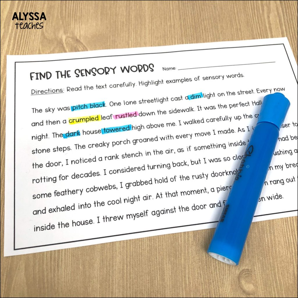 Students can highlight sensory language examples they find in a fiction passage or poem.