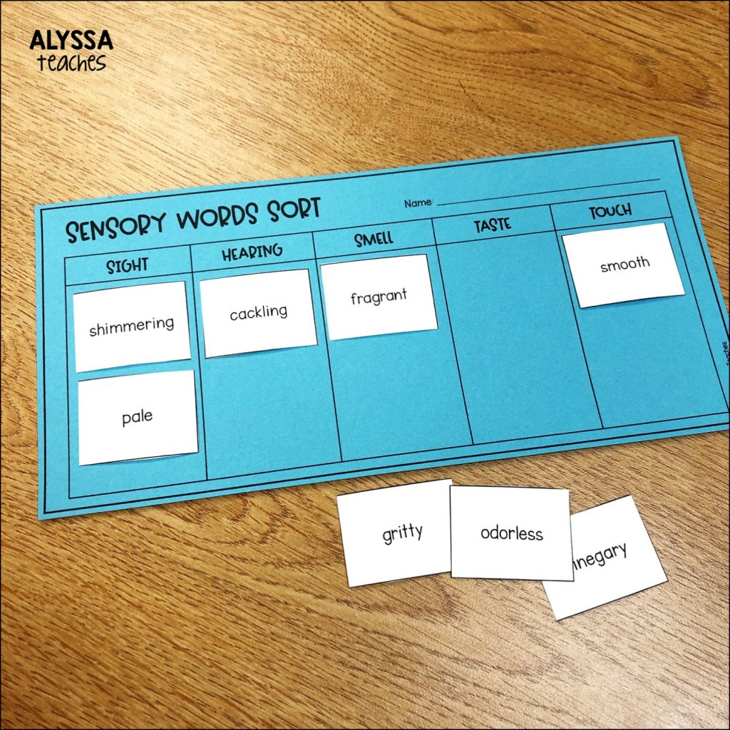 Students can complete a sorting activity to sort sensory words by sense.