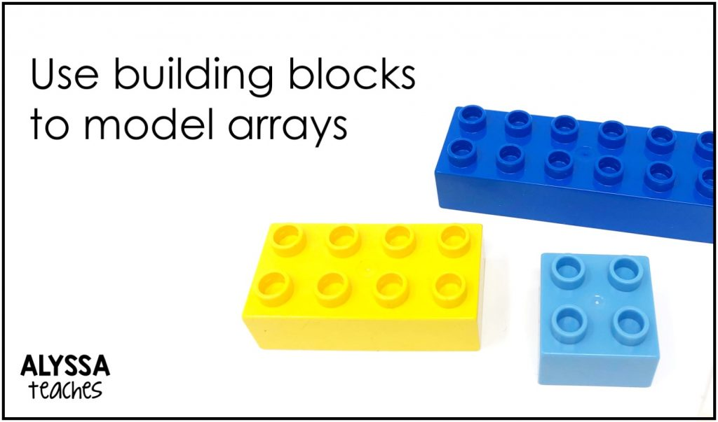 Use the dots on building blocks to model multiplication arrays.