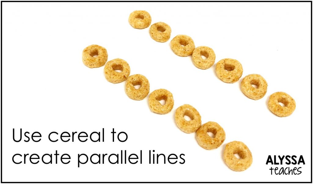 Cereal and other small food items are easy to use to create geometric figures and other geometry concepts.