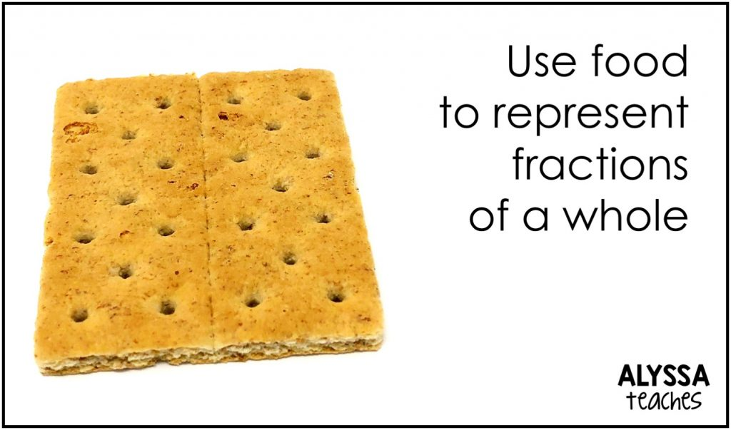 Food is great to use to show students fractions of a whole and fractions in a set.