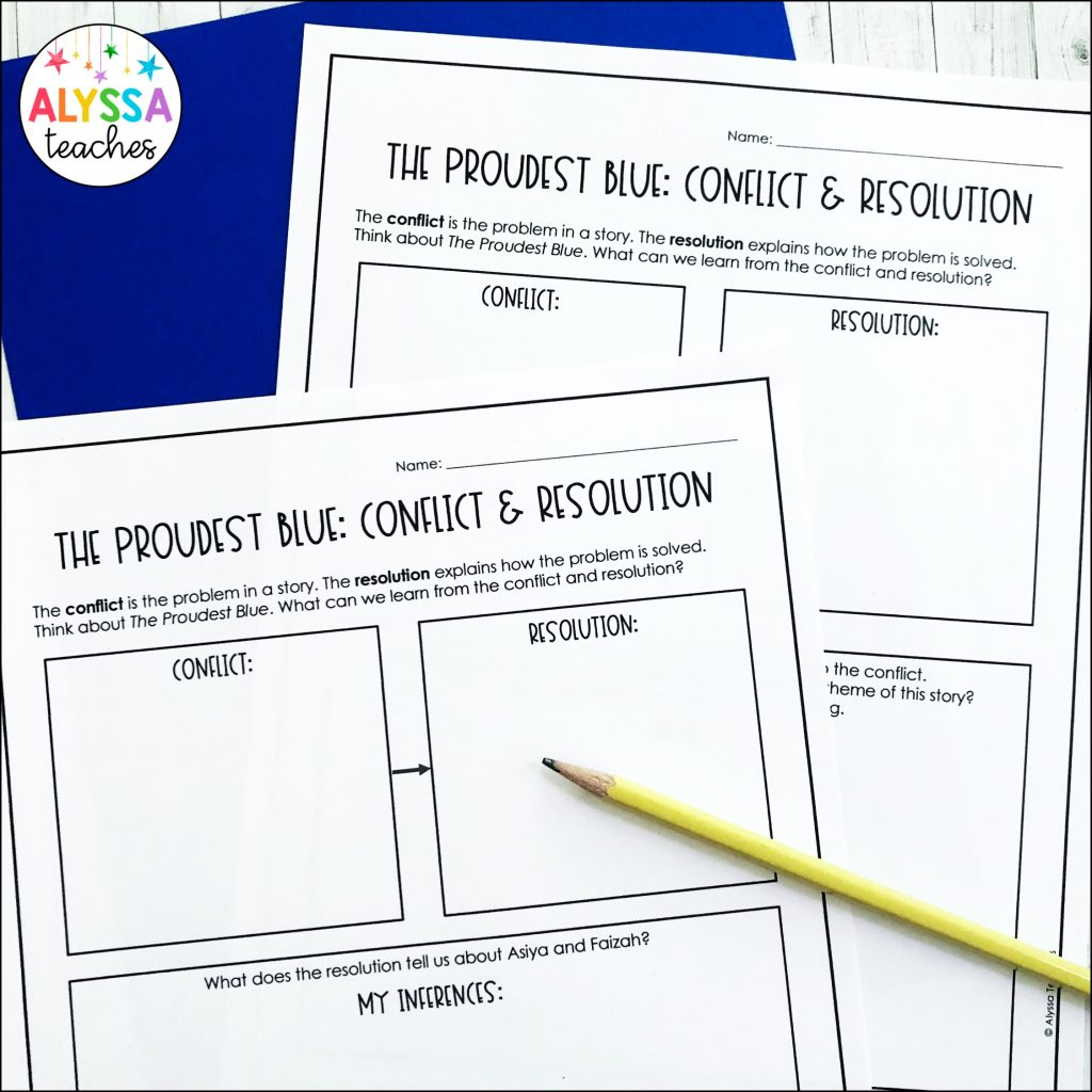 Grab free worksheets to use to teach conflict and resolution with The Proudest Blue!