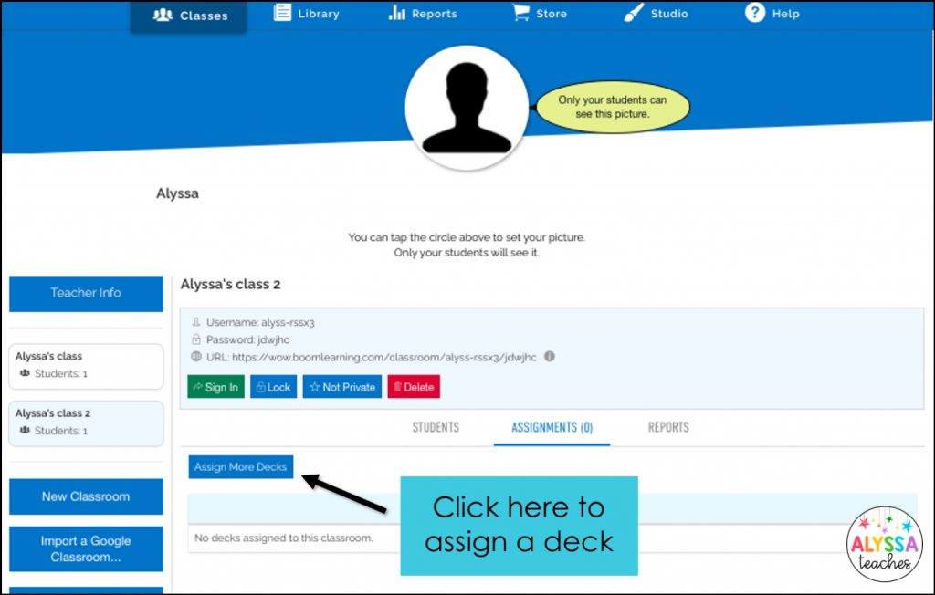 Assign decks from the classes tab in the Boom Learning site