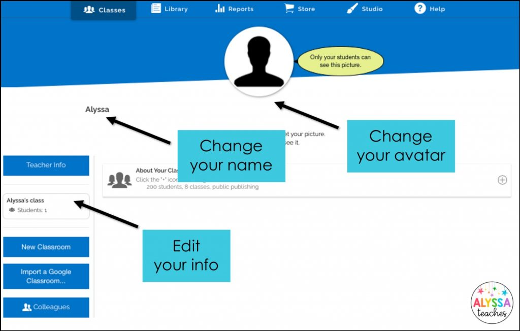 Change your user name, avatar, and profile in your Boom classroom
