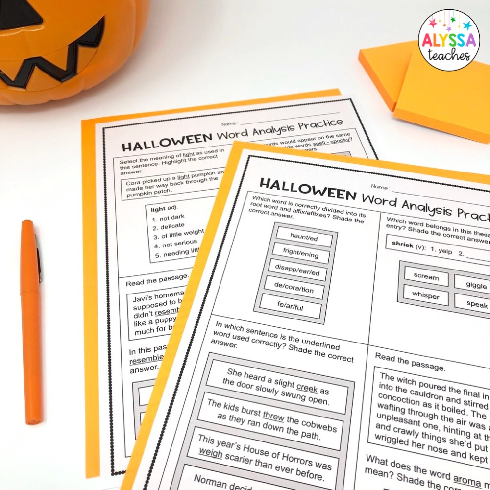 Have Halloween fun in the classroom by working it into word analysis review!