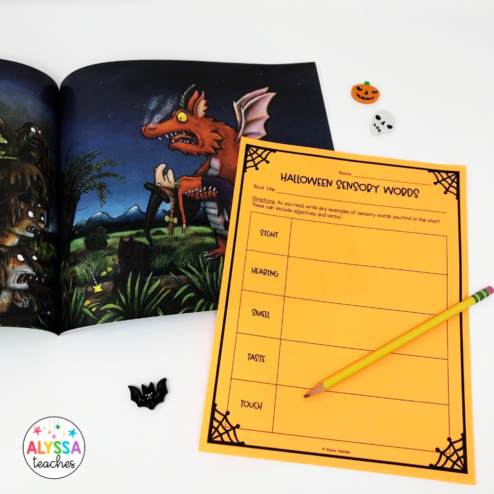 Halloween books are perfect to read aloud to review a variety of reading strategies, including identifying sensory words! Grab this free sensory language graphic organizer!