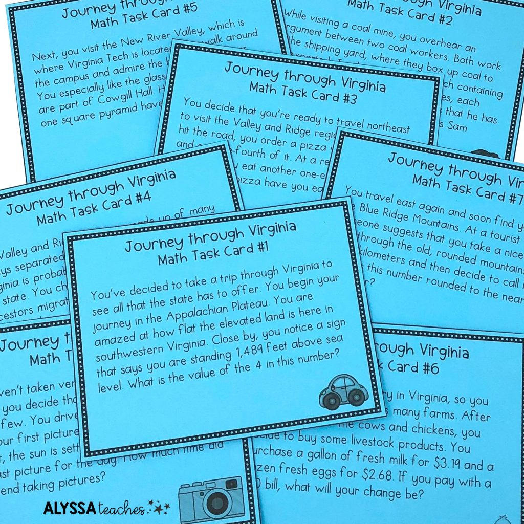 These math task cards weave in content from the Virginia Studies curriculum so you can teach two subjects at once!