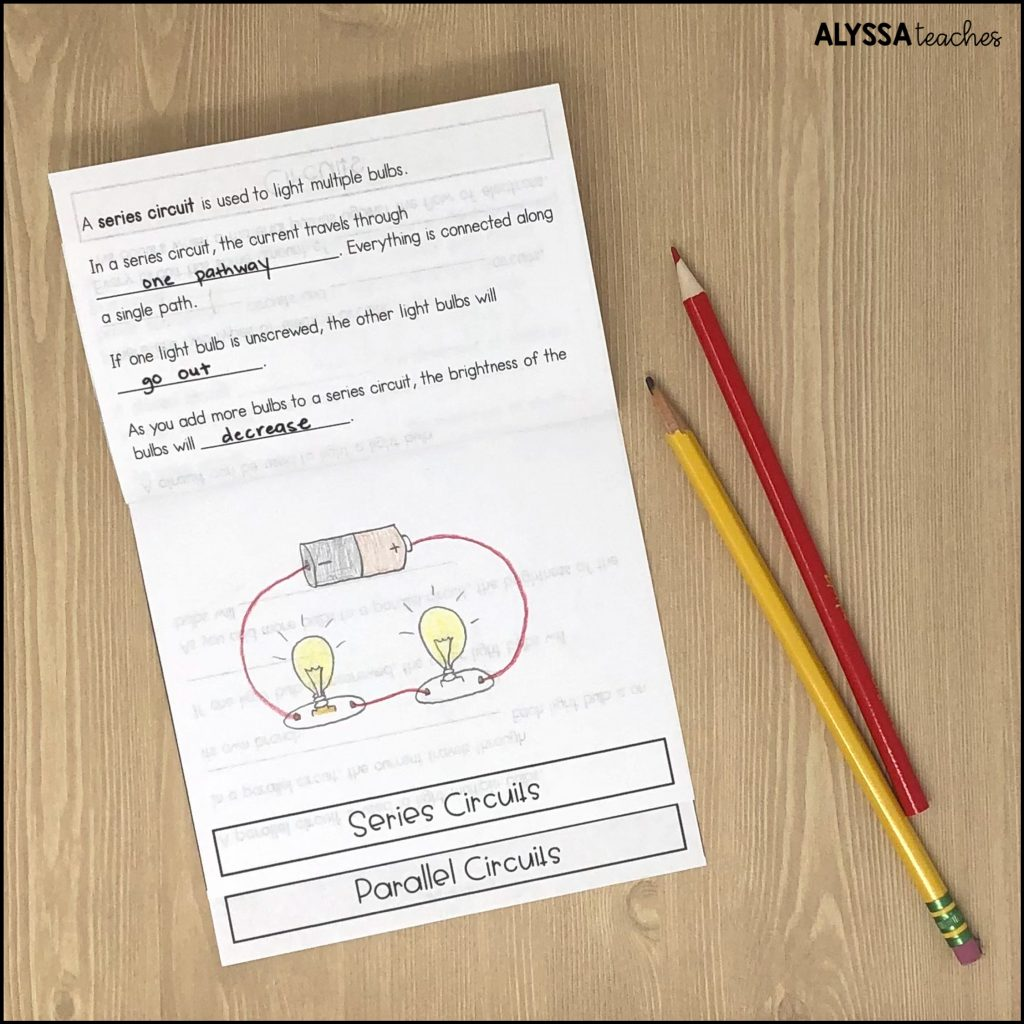 Using a flip book, students can take scaffolded notes and draw pictures of the different circuits they create.