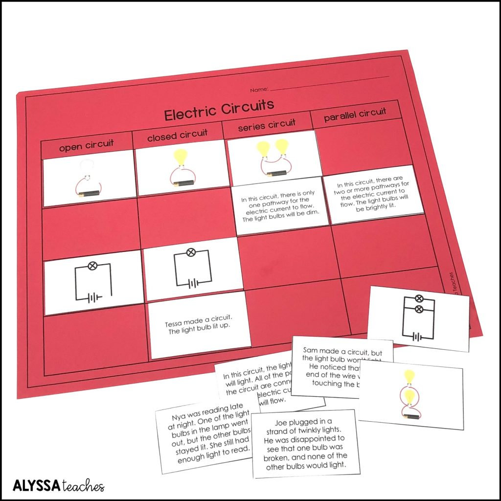 A circuits vocabulary sorting activity is a great way to help students differentiate among open, closed, series, and parallel circuits.