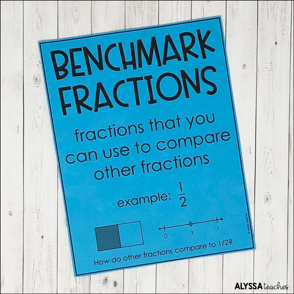 An anchor chart like this one is a great way to show students a benchmark fractions definition and examples.