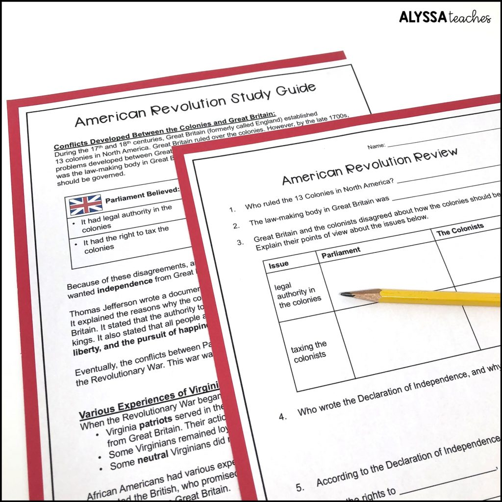 This Virginia in the American Revolution (VS.5) study guide and review worksheet help students have a comprehensive test prep activity.
