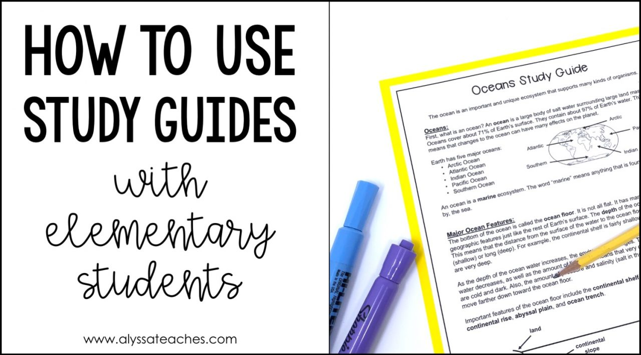 study guide with pencil and highlighters