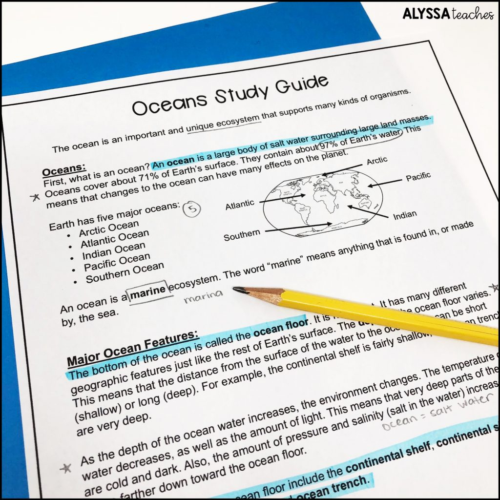 3rd, 4th, and 5th grade students can mark up their SOL study guides in order to better learn the content.