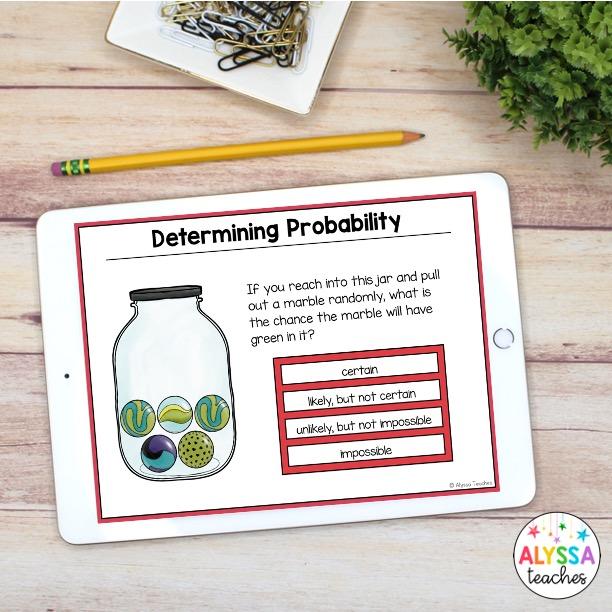 digital probability task cards on iPad