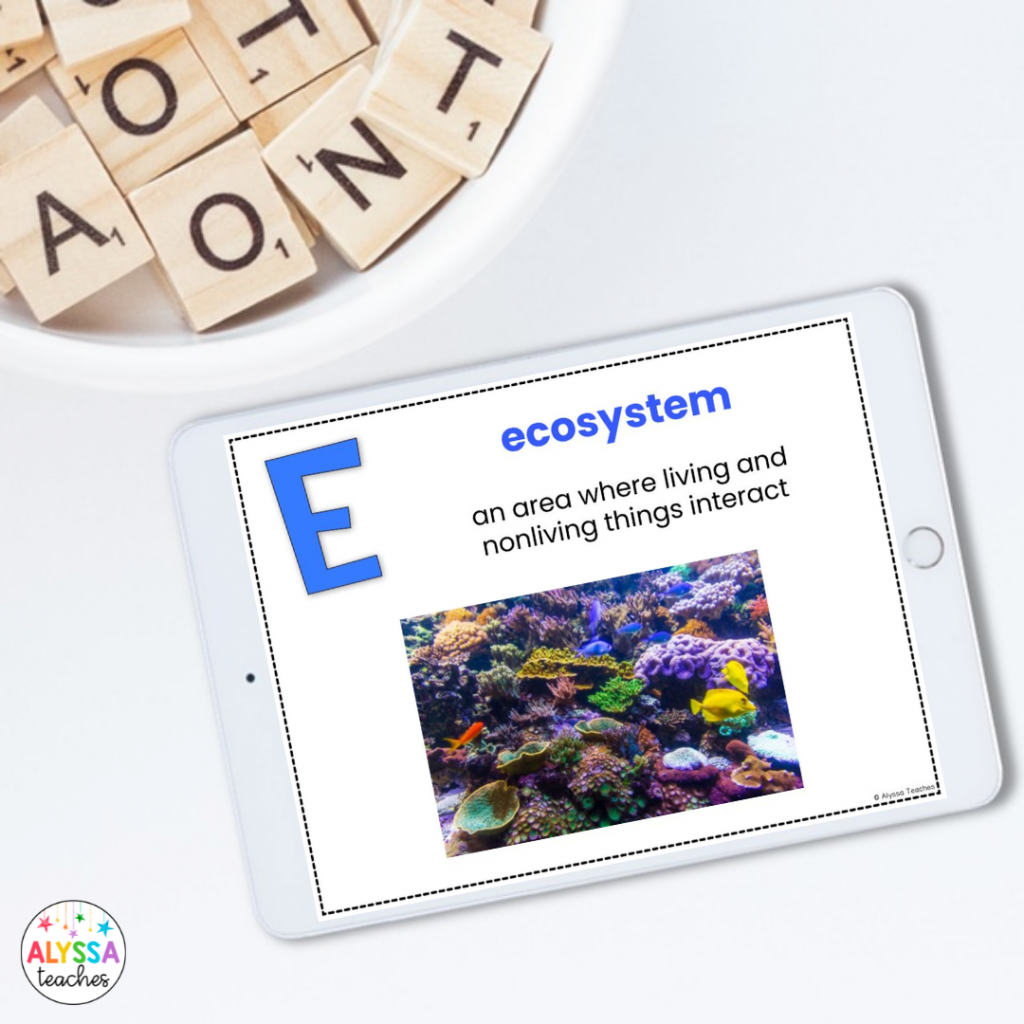 A digital ABC book or chart can be a helpful way for students to brainstorm words that relate to a new topic or unit.