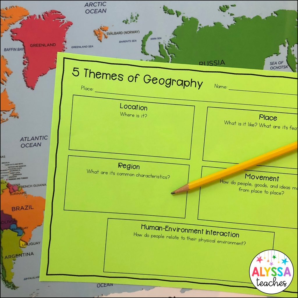 5 themes of geography worksheet
