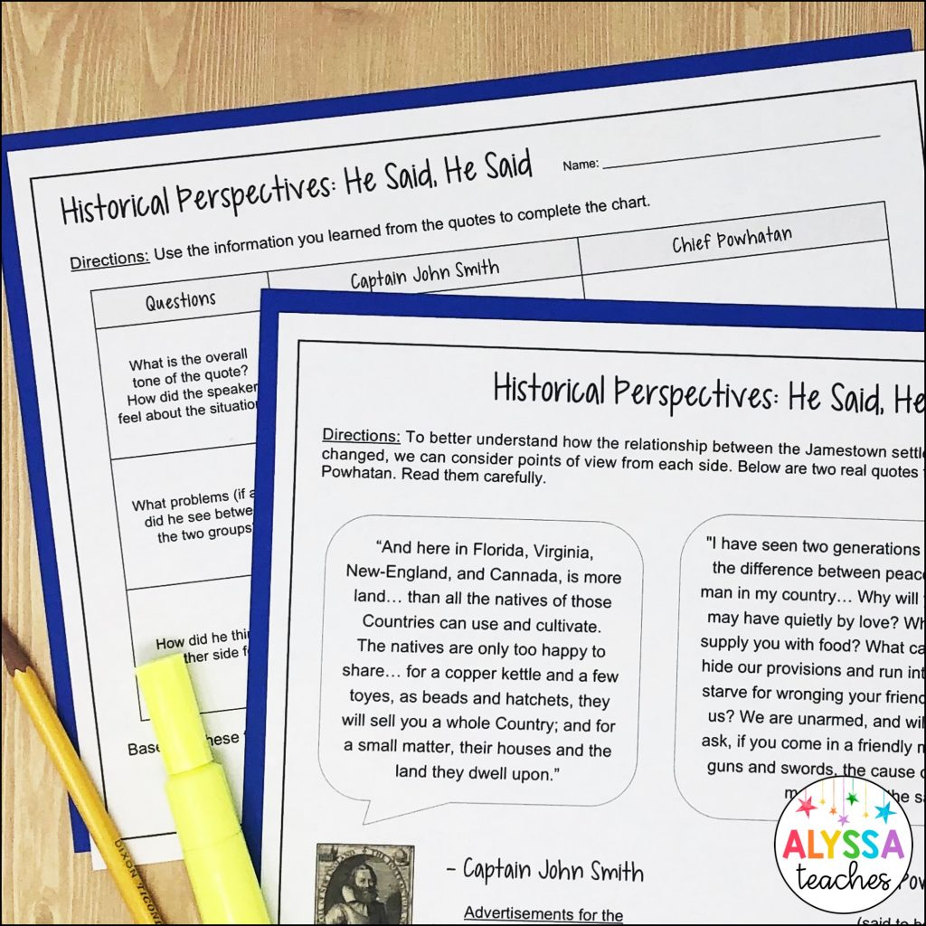 critical thinking skills activity of comparing historical perspectives
