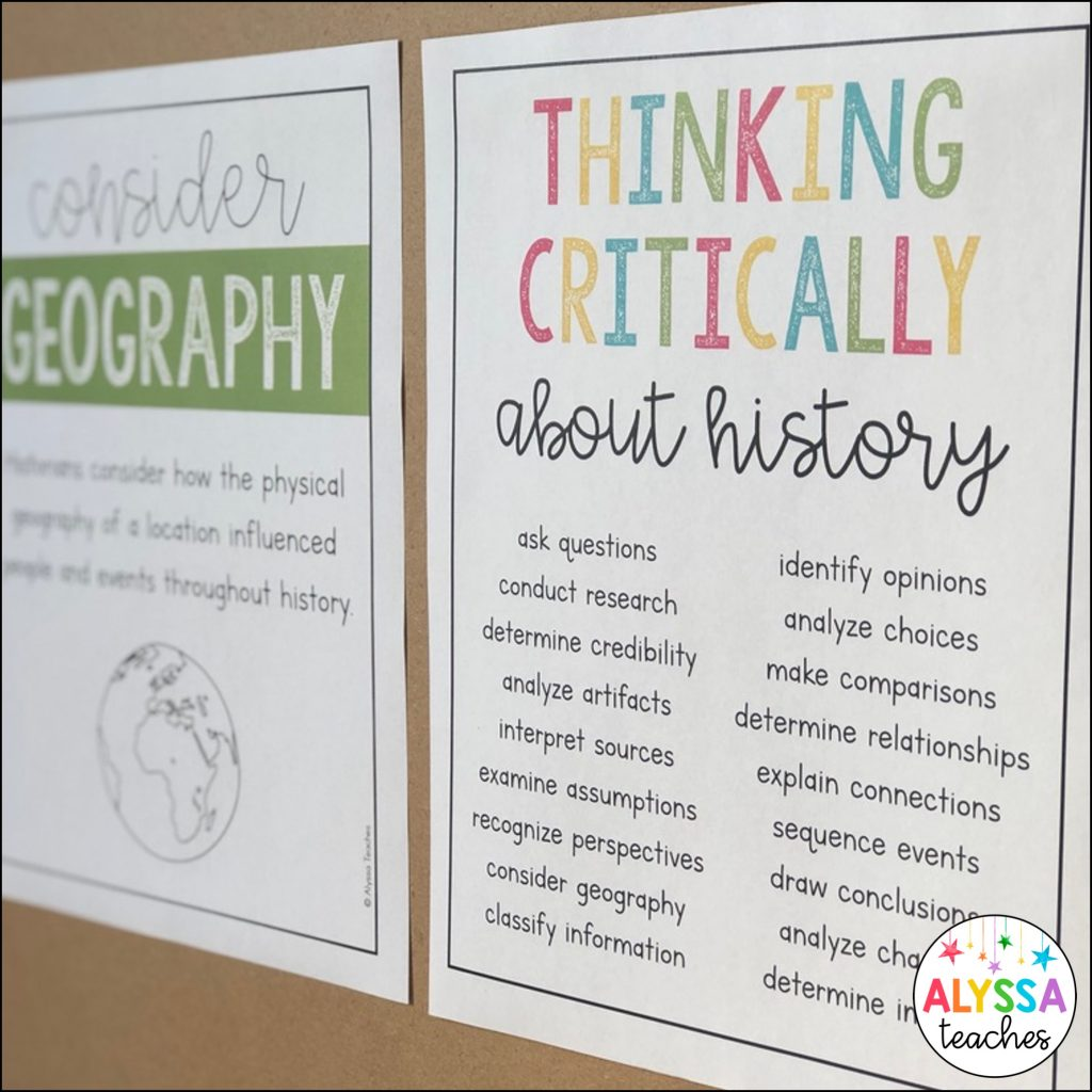Critical thinking skills in history poster