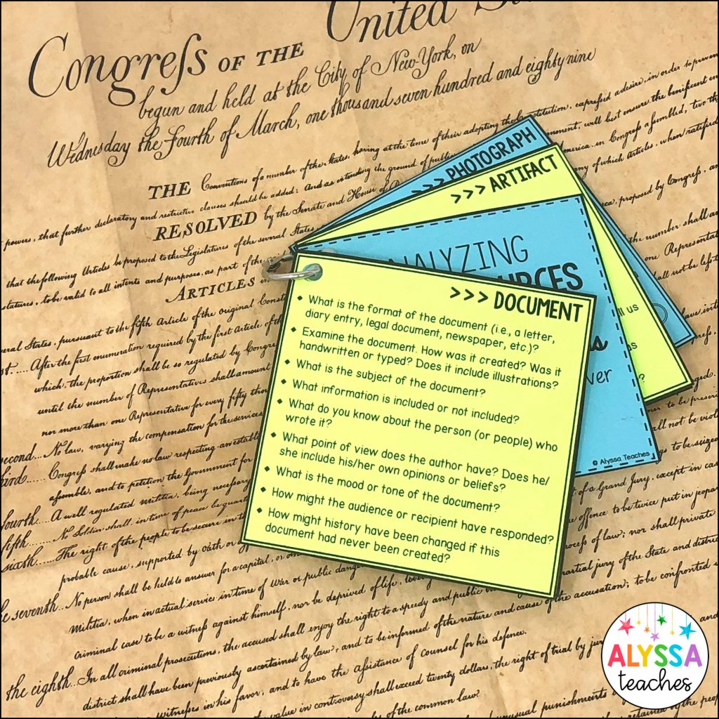 Primary source question cards with document