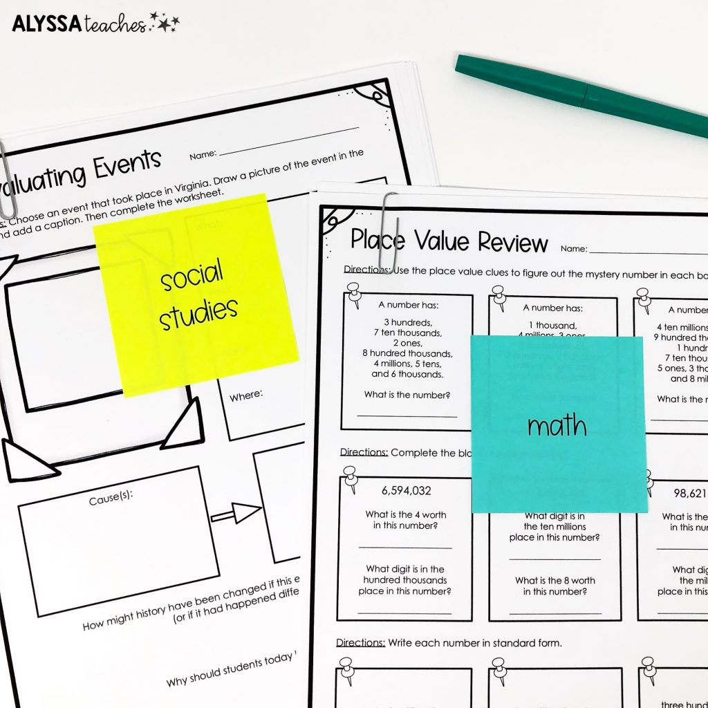 Virginia 4th grade sub plans with printed sticky notes to label worksheets