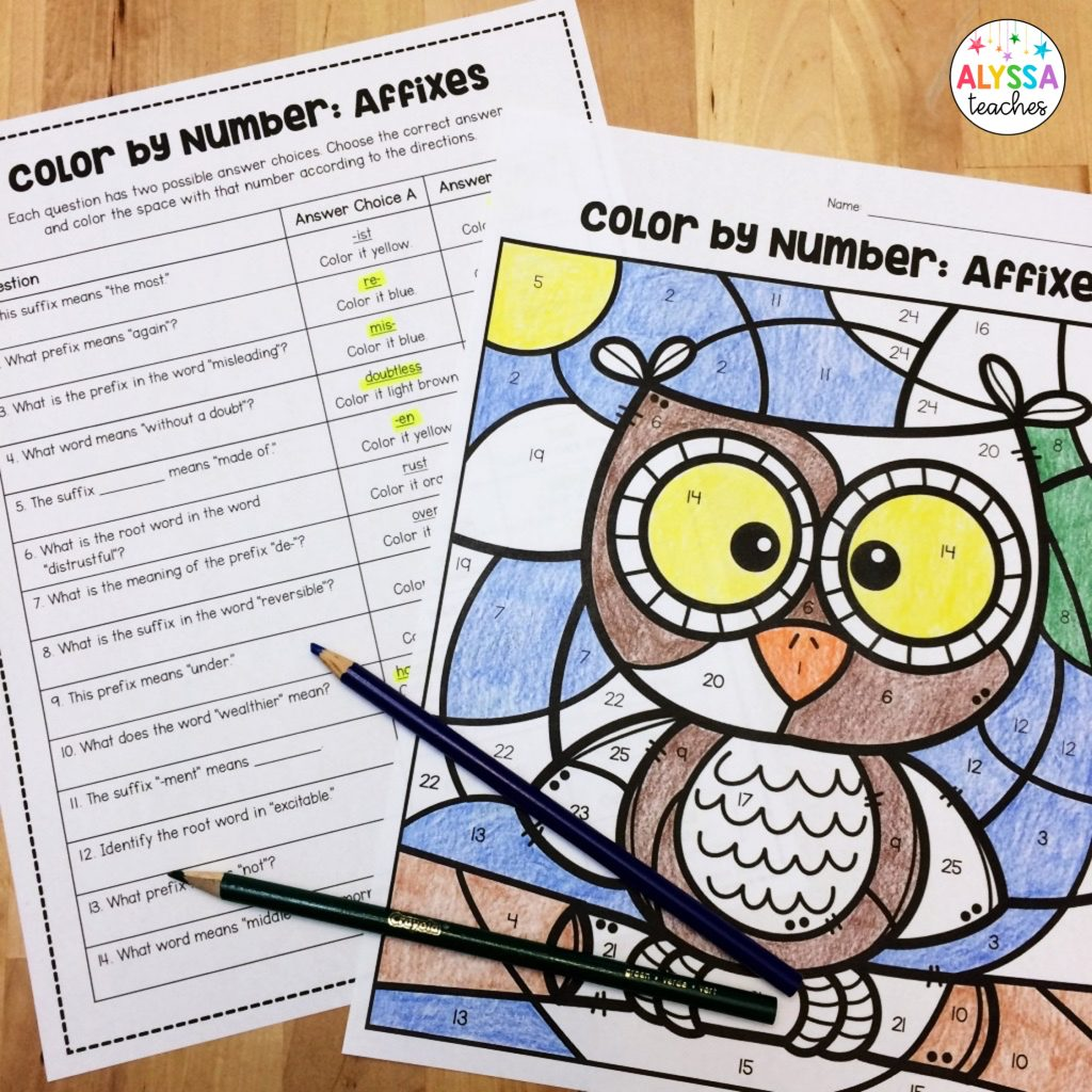 color by code worksheets to review prefix and suffix examples