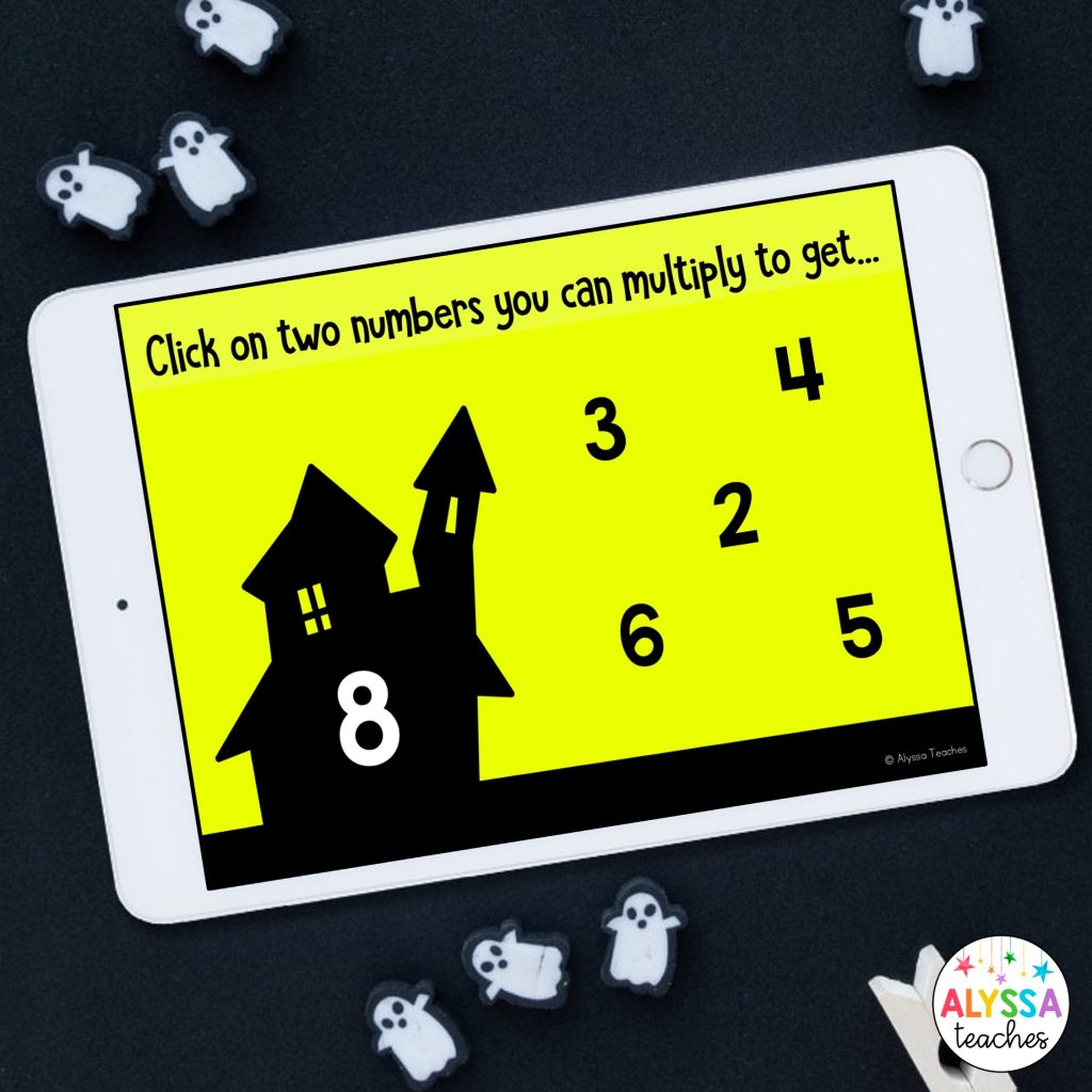 iPad with Boom cards to practice multiplication facts to 50